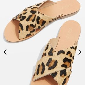 Topshop holiday cross strap leopard print sandals